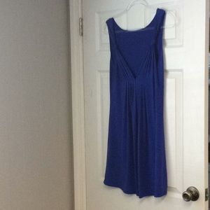 Deep plunge, flirty royal blue dress